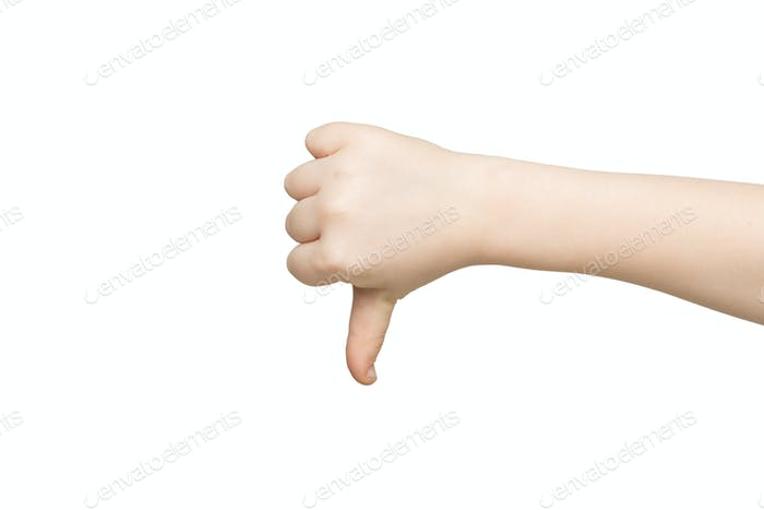 Thumb down sign isolated on white background