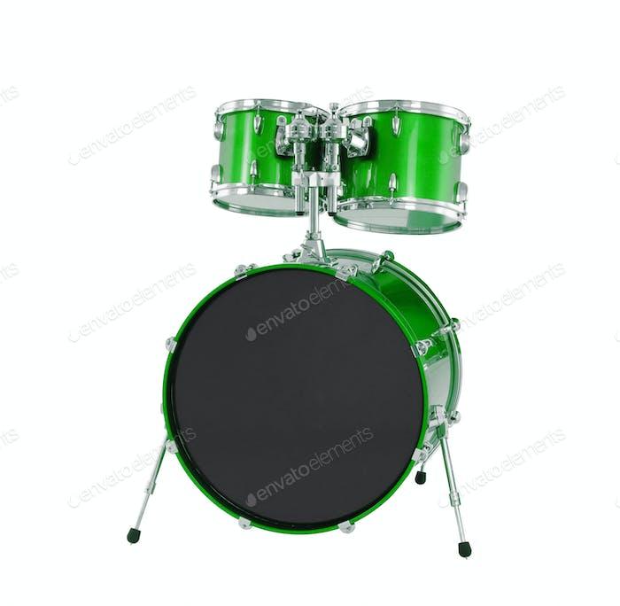 Set von grünen Trommeln isoliert