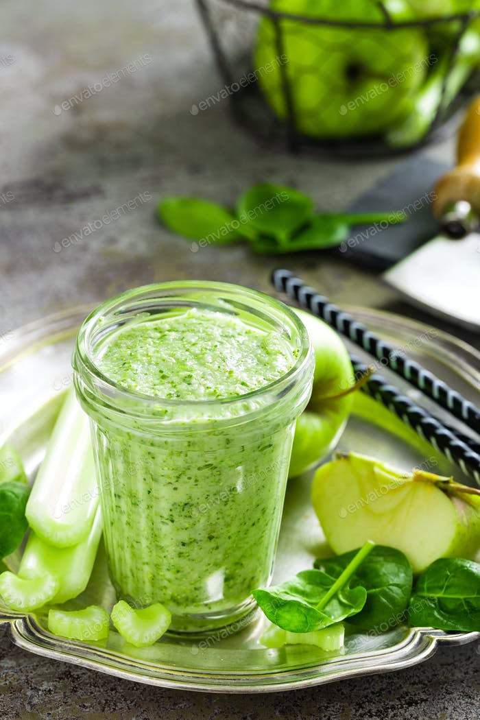Smoothie of fresh green apple, celery and spinach
