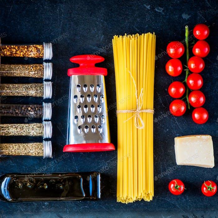 Italienisches Essen Kochen Pasta Zutaten