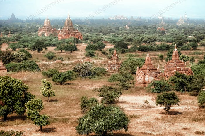 Old Buddhist Temples at Bagan Kingdom, Myanmar (Burma)