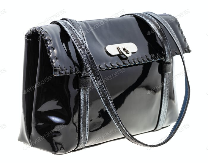 ladies handbag from black lacquered leather