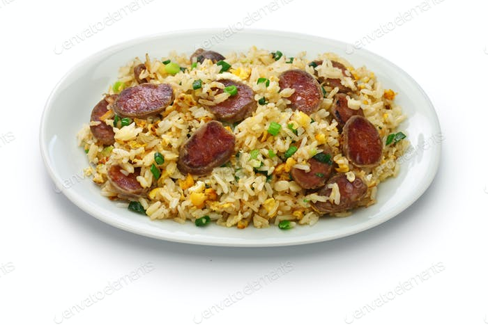 chinese sausage fried rice, xiang chang chao fan