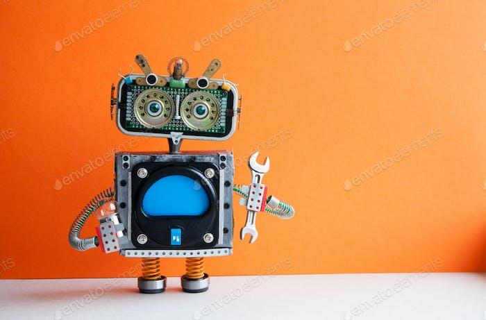 Roboter Handwerker mit Handschlüssel und Glühbirne.