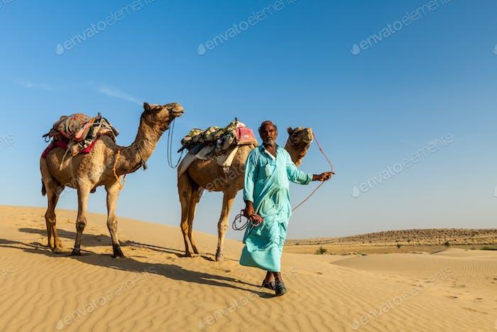 Kameleer (Kamelfahrer) mit Kamelen in den Dünen der Wüste Thar. Raj