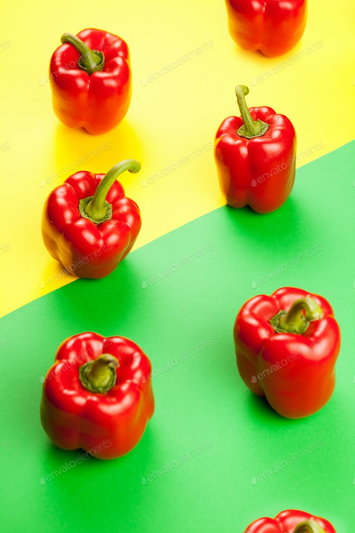 Fresh healthy sweet red peppers