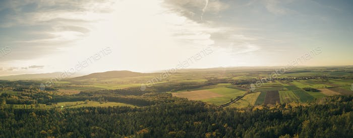 Inspirational aerial landscape, autumn forest and fields