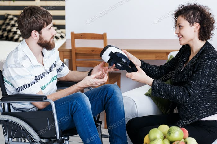 Patient during indoor VR therapy