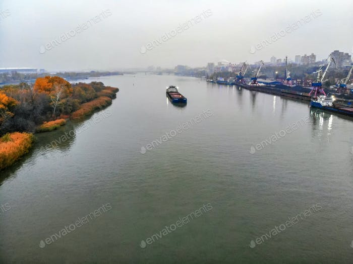 View of river port in Rostov-on-Don in autumn taken by drone