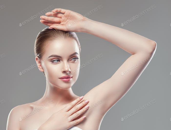 Armpit woman hand up  care depilation concept