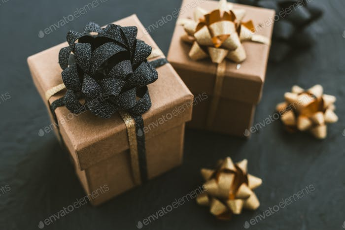 Christmas gift box on a black background.