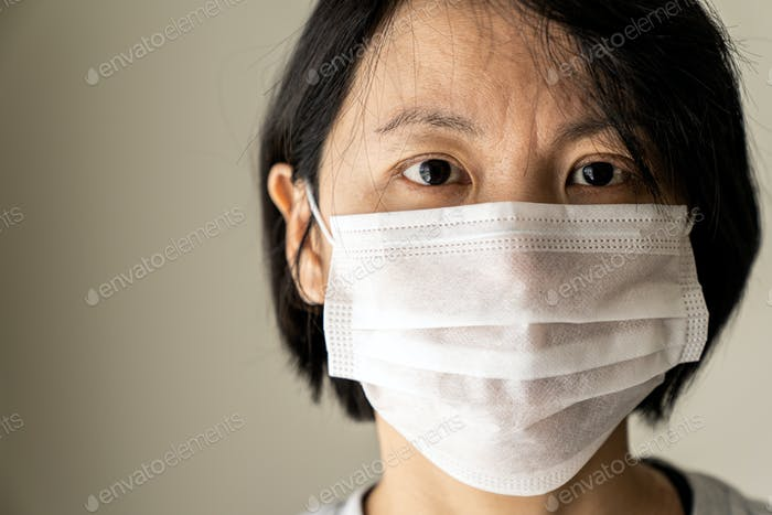 China woman wear medical mask protection from flu virus