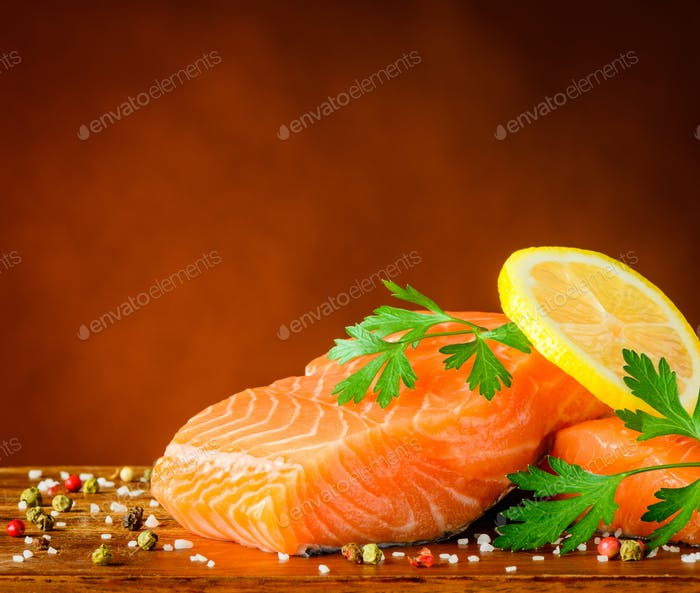 Salmon Fish Fillet Slices with Spices