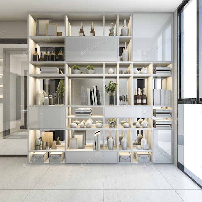 3d rendering modern shelf design in near corridor and window