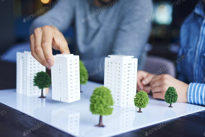 Shot of architectural model on office table