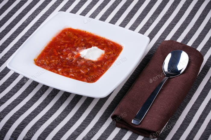 borsch in white plate
