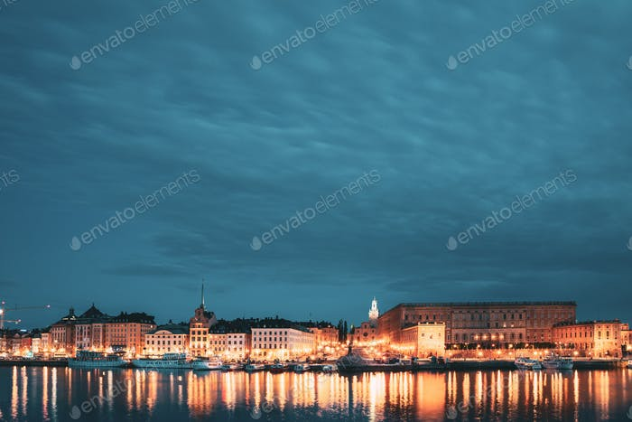 Stockholm, Sweden. Scenic Famous View Of Embankment In Old Town Of Stockholm In Night Lights. Great