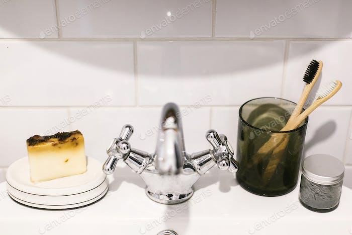 Plastic free bathroom items. Sustainable lifestyle.