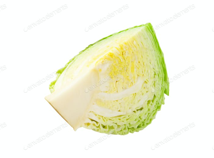 sliced savoy cabbage isolated on white