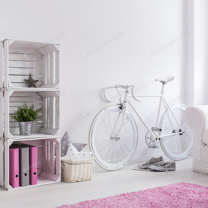White DIY bookcase in teen girl room