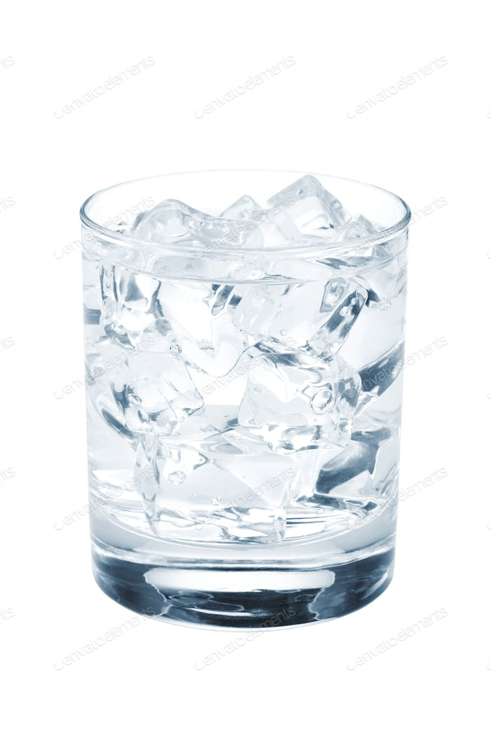 Glass of pure water with ice cubes