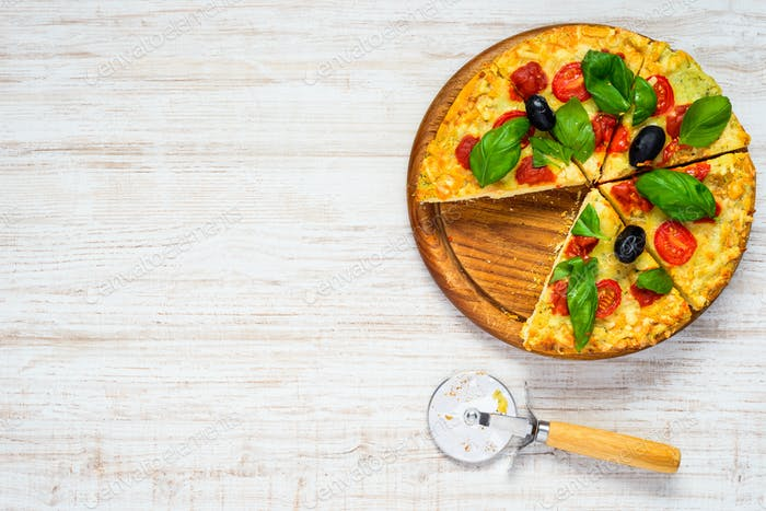 Sliced Pizza on Copy Space Text Area