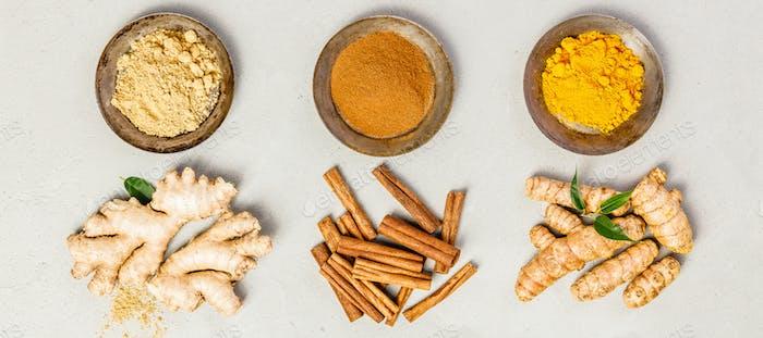 Ginger, turmeric and cinnamon