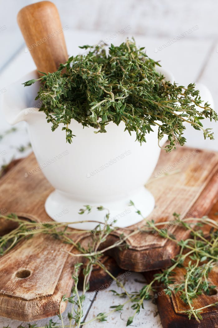 Thyme in a mortar