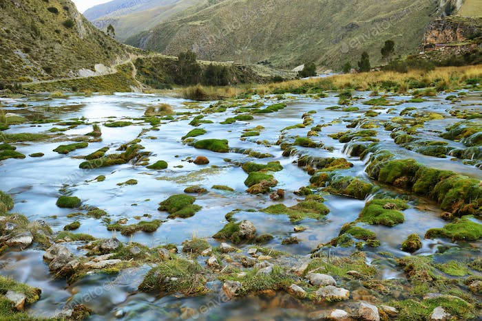 Clear waters of Cañete river near Vilca villag, Peru