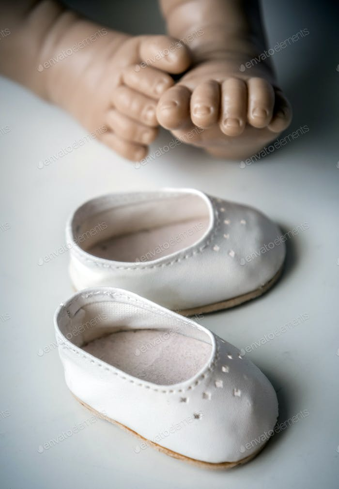 Small Doll Shoes isolated on white background