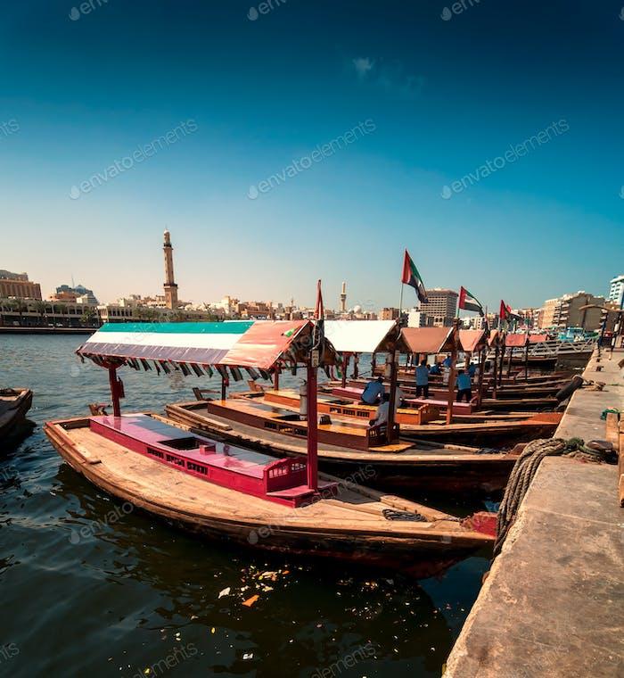 Traditional Abra taxi boats in Dubai creek