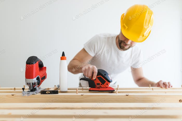 Male carpenter working on a project