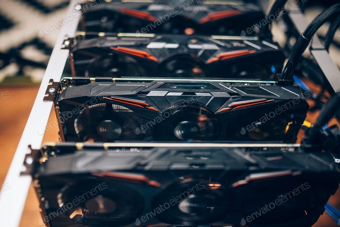 Crypto currency graphics cards minig rig. Details of modern technology
