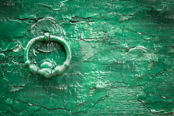 Green wood old knock door