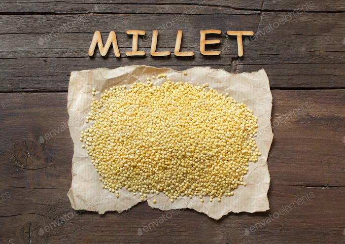 Raw millet with a word Millet