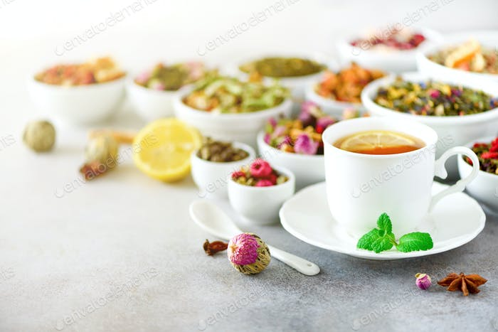 Tea concept with copy space. Different kinds of dry tea in white ceramic bowls and cup of aromatic