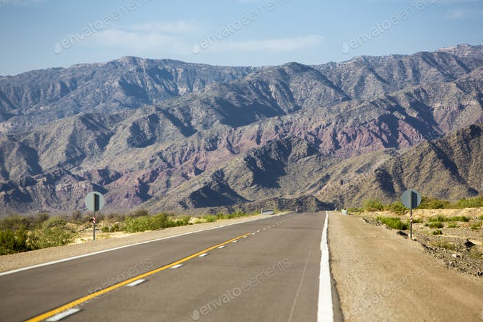 Mountains and straight road 40 in Argentina
