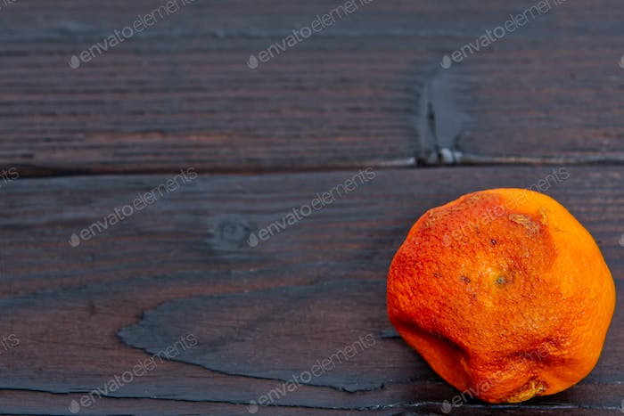 Dry mandarin on a table