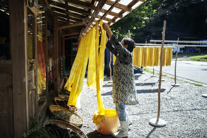 Japanese woman outside a textile plant dye workshop, hanging up freshly dyed bright yellow fabric.