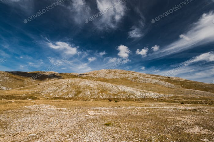 Horizon and blue sky in rural Bosnia steppe