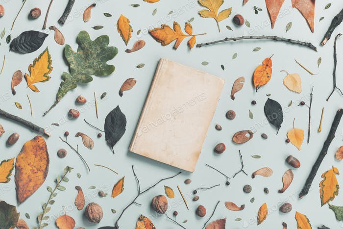 Vintage book cover mock up with autumn decoration