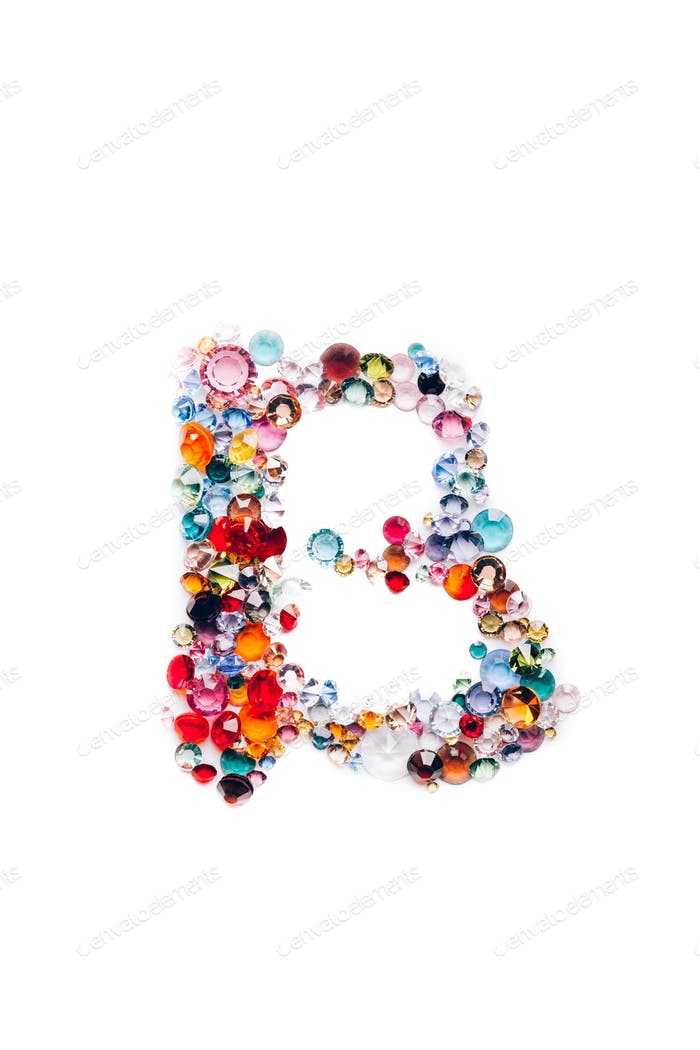 Letter B from glass bright gems