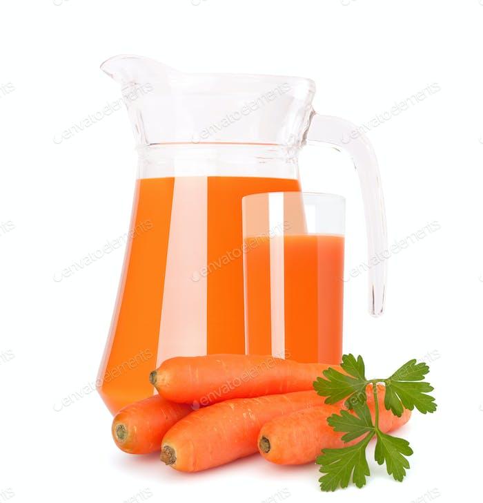 Carrot vegetable juice in glass jug