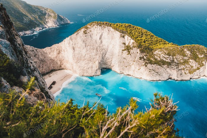 Navagio beach vintage look. Waved bay water and abandoned shipwreck on the beach. Zakynthos Island