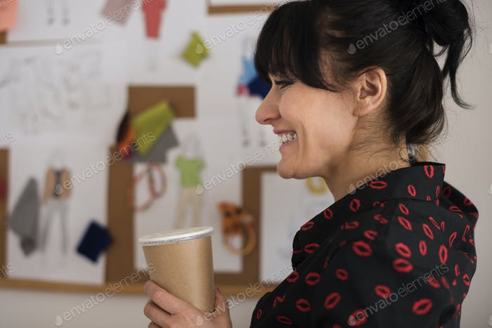 Happiness business woman with coffee