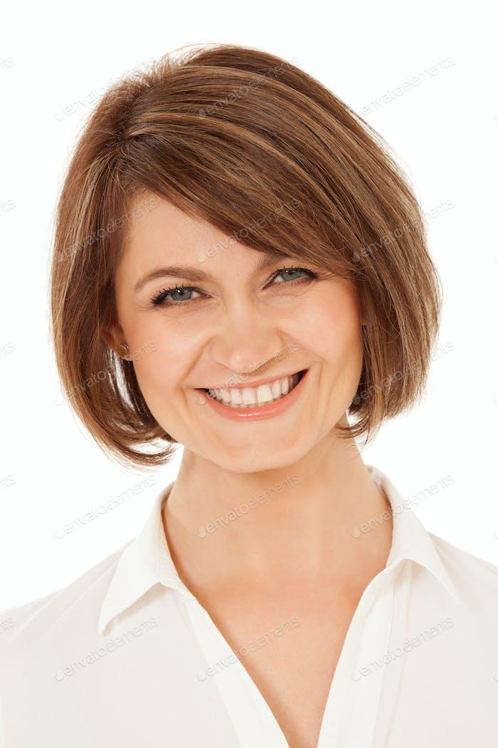 Cheerful adult woman smiling at camera