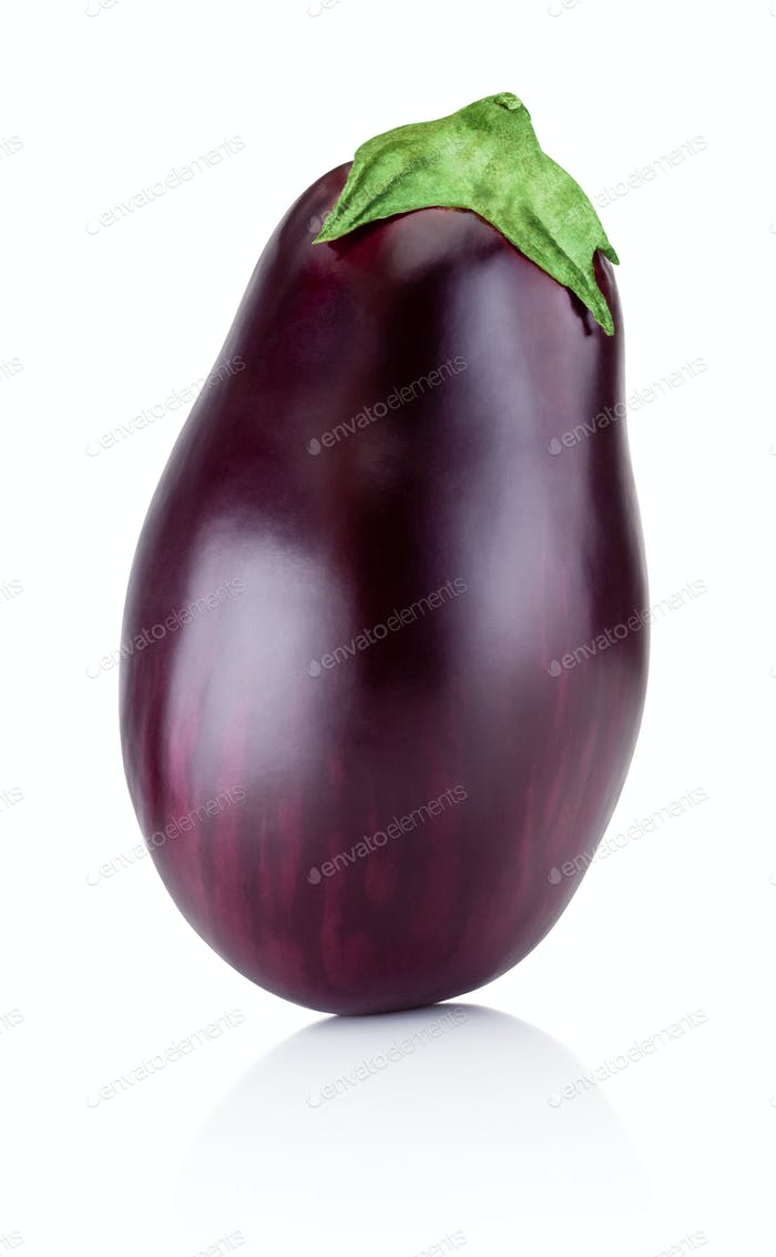 One brinjal isolated on white background