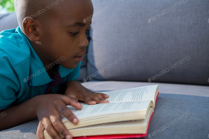 Close-up of boy reading novel on sofa at home