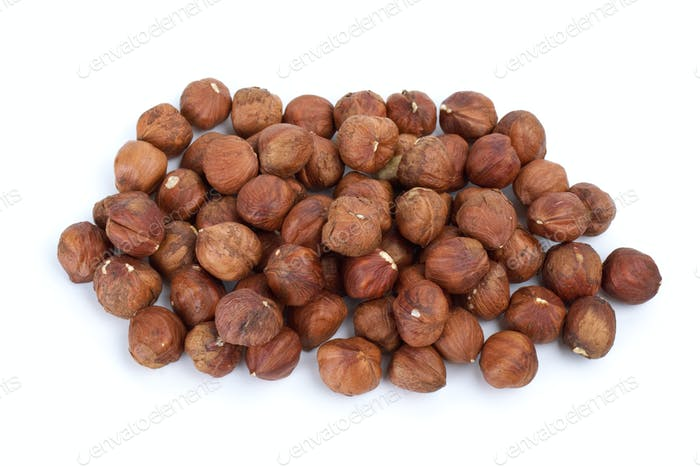 Small pile of hazelnuts