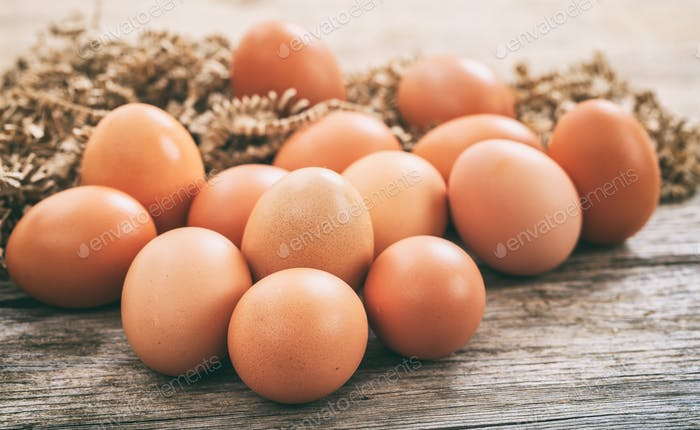 Eggs on a wooden surface